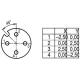 Mot. jungtis, M12-A, 4-pin, ardoma, kampinė •