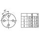 Mot. jungtis M12-B, tiesi, 4-pin, ardoma •