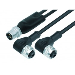 Double plug M12x1 - 2, Female angled connectors M12x1