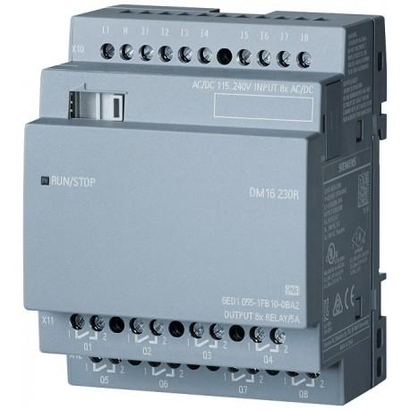 LOGO! DM16 230R expansion module, PS/I/O: 230V/230V/relay, 4 MW, 8 DI/8 DO for LOGO! 8