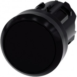 Pushbutton, 22 mm, round, plastic, black