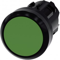 Pushbutton, 22 mm, round, plastic, green