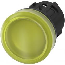 Šviesos indikatorius 22mm geltonas, plastikinis