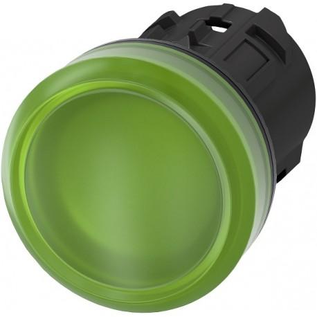 Light indicator 22mm green, plastic
